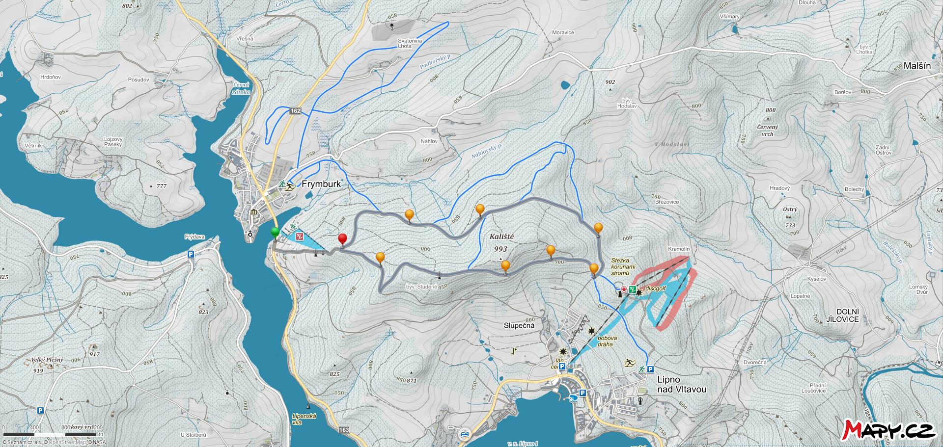 Běžkařská trasa nad sjezdovkou Marta